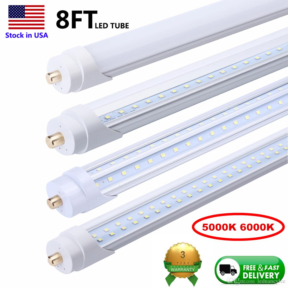 LED 튜브 램프 8피트 8피트 LED 튜브 단일 핀 FA8 LED 전구 8피트는 형광 튜브 라이트 V 모양의 튜브 5000K 6000K 교체