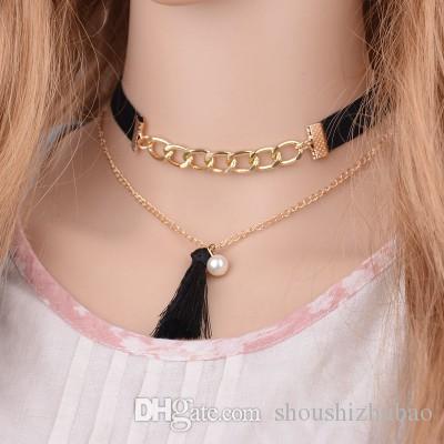 Мода Бархат Замши Колье Колье Золотой Цвет Цепи Ожерелье Женщины Кисточкой Имитация Жемчуга Ожерелье N784