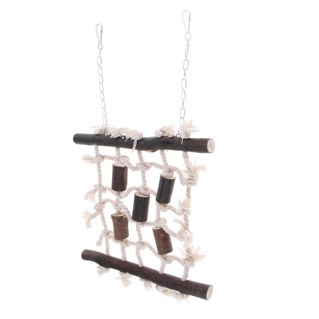 Parrot Climbing Net Bird Cage Wood Ladder Toy Play Gym Hanging Swing Net