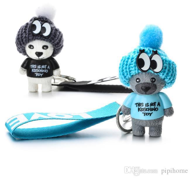 Chegada Nova Urso de peluche bonito Key Chain'THIS NÃO É UM KOSCHINO TOY'Bear KeyChain animal Padrão Titular da chave para a menina amigo