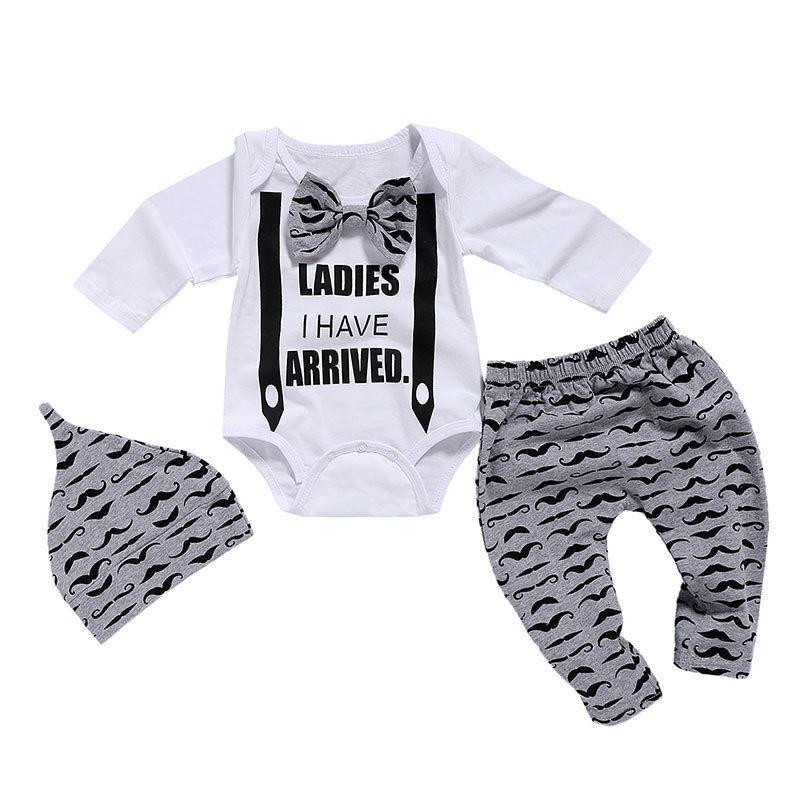 Wisefin Новорожденных Одежда Мальчики 3 шт. Галстук-бабочка Детская одежда 0-18 месяцев Усы Печати Симпатичные с длинным рукавом Baby Set P35 J190521
