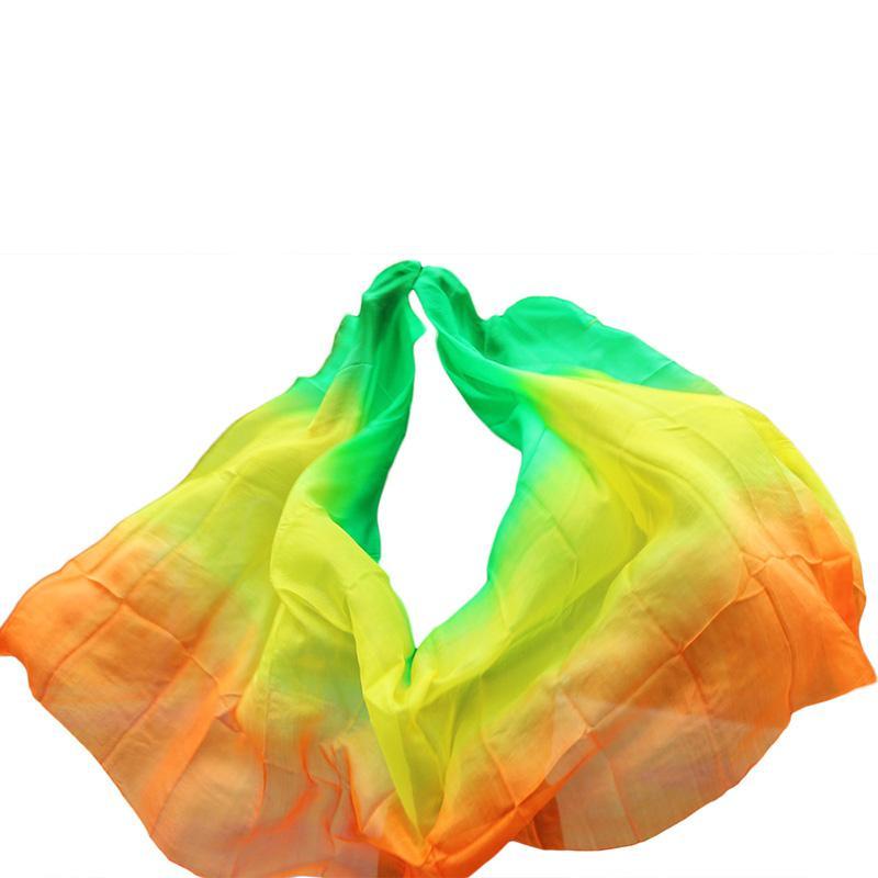 Accesorios personalizados 100% Velo de seda real Velo del vientre 200/250 / 300 cm Teñido a mano Velo de seda Gradiente de color Accesorios 5 tamaños