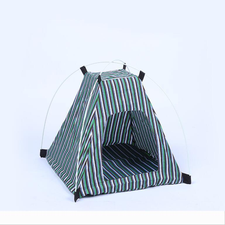 Creative Portable Folding Striped Pet Tent Dog House Cage Dog Cat Tent Playpen Puppy Kennel Easy Operation Outdoor Supplies 2277