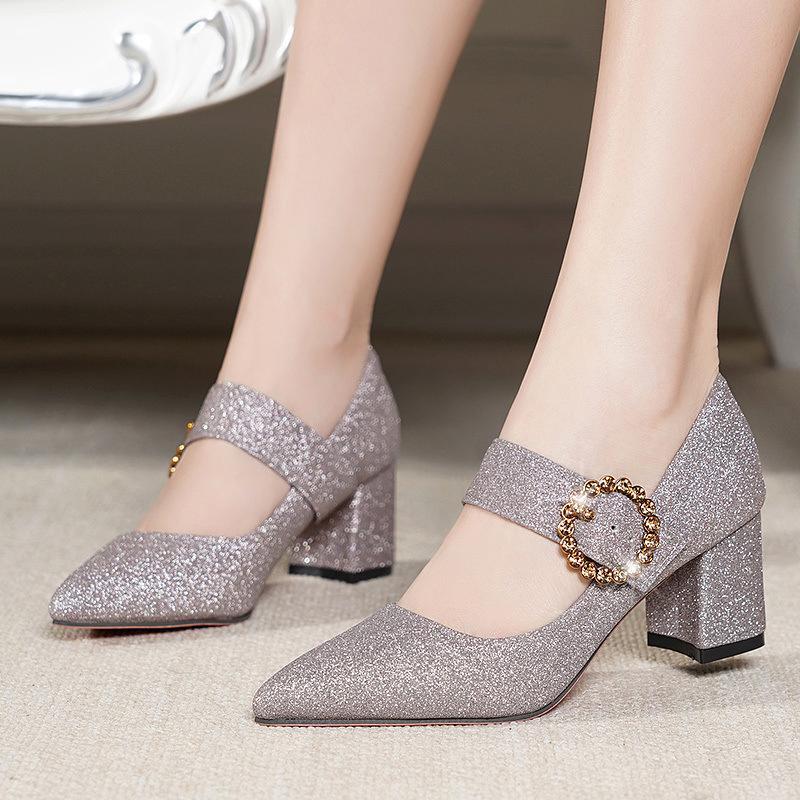 Mary Janes de metal cristal zapatos mujer brillo hebilla vestido de punta estrecha bombas de la manera todos los zapatos de tacón alto gruesos partido 6cm femenina cómoda