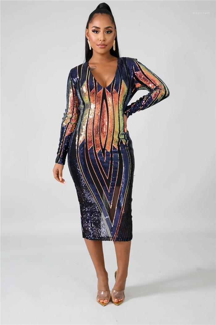 Vestido artesonado atractivo del diseñador cuello en V profundo ver a través de una línea vestido Las mujeres del club de noche de vestir casuales para mujer de las lentejuelas