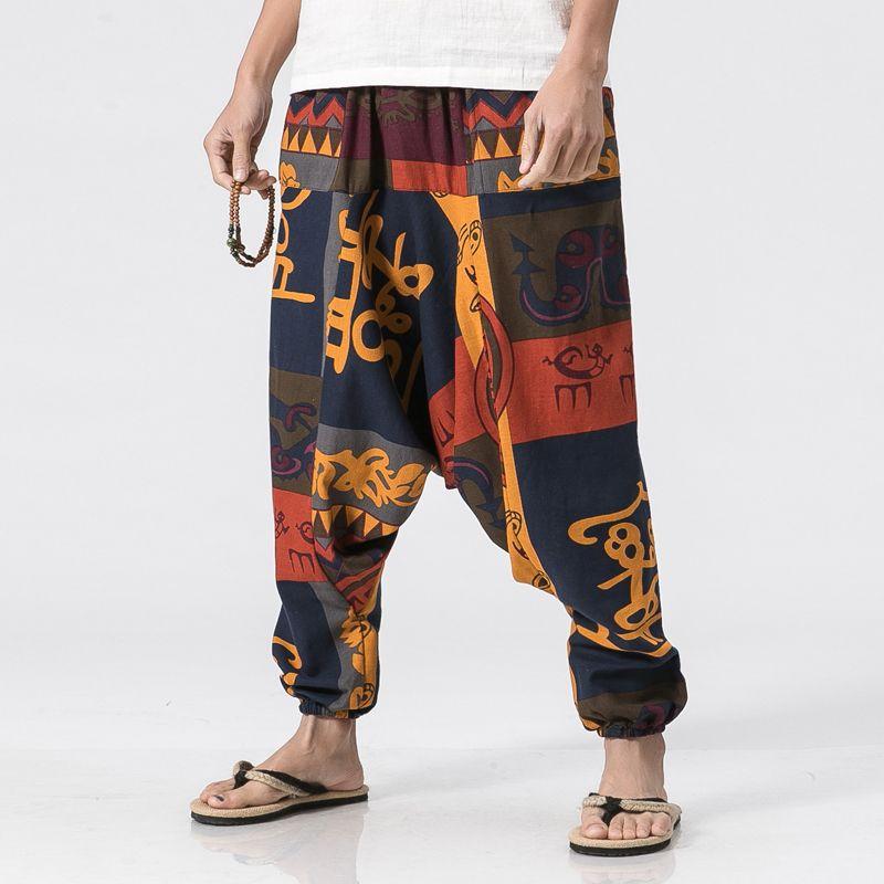 Размер США 5XL Mens Свободного хлопок белье Повседневного Гаремный Китайский стиль шаблон мужская мода низкая промежность брюки Joggers Pant