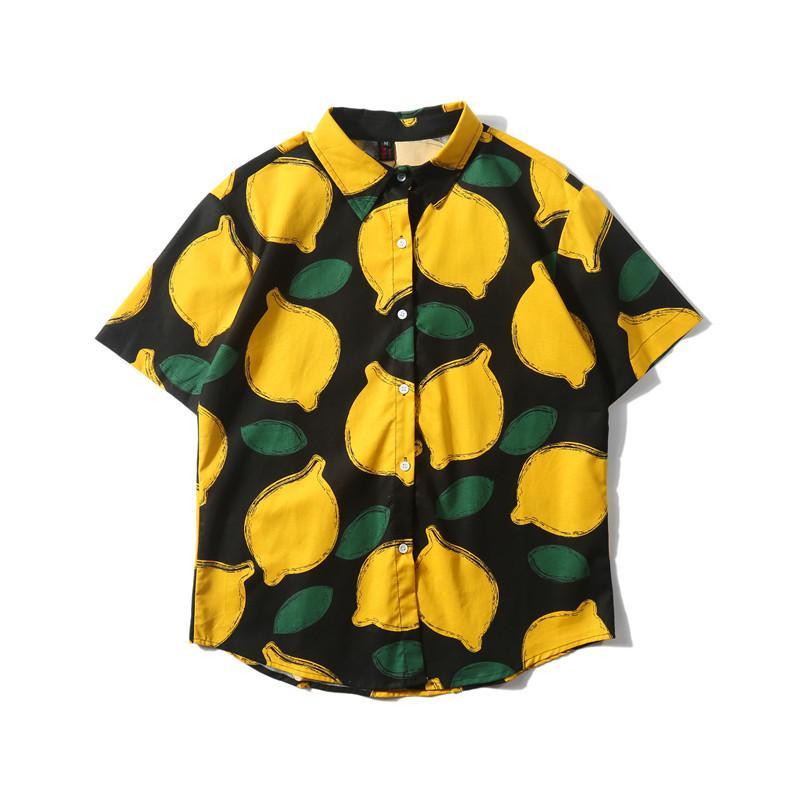 Hombres camiseta de manga corta de verano de impresión de limón Impreso ajuste cómodo fina suelta de manga corta impresa ocasional de los hombres