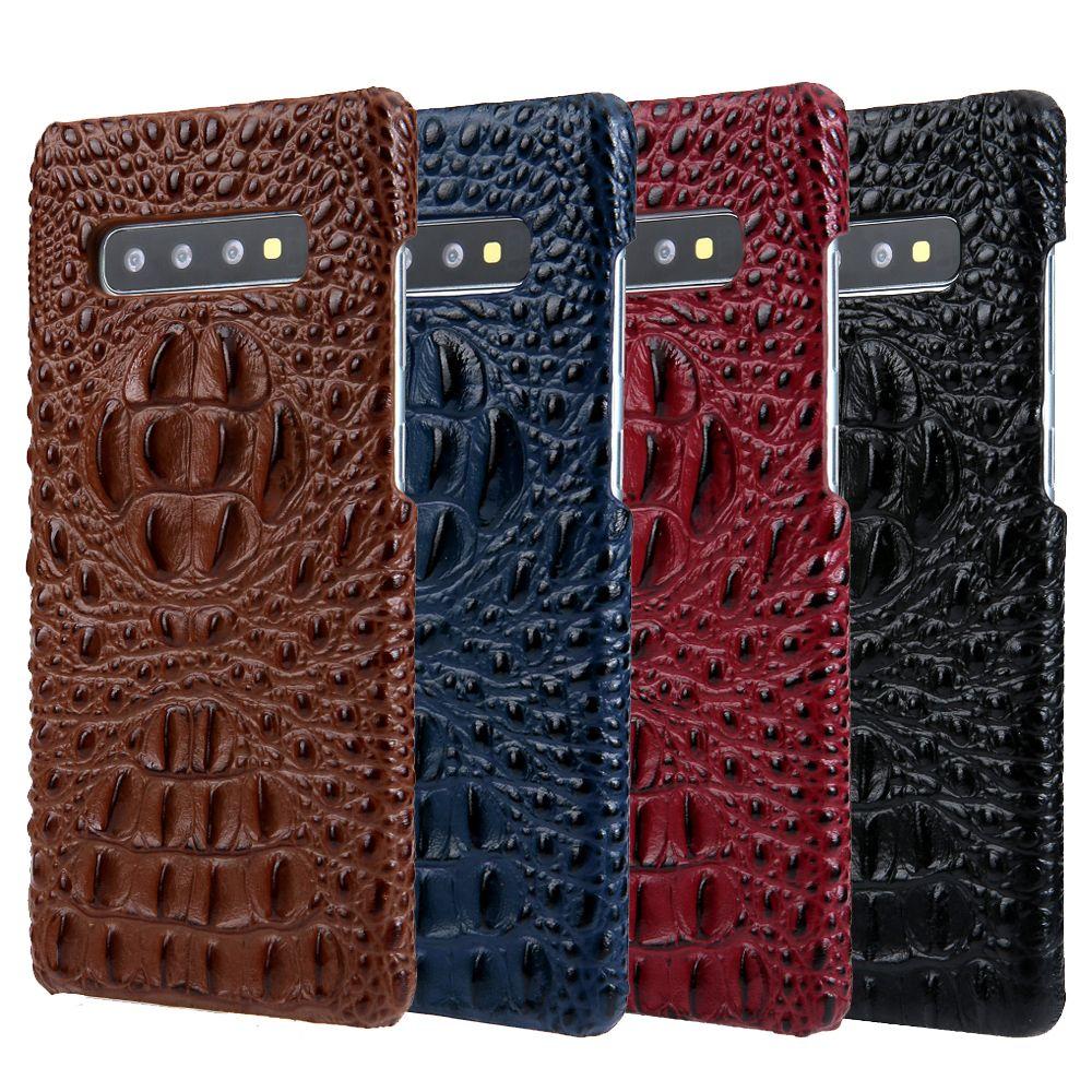 Luxo protetor genuíno couro phone case capa jacaré crocodilo cabeça padrão para samsung galaxy s10 s10 plus