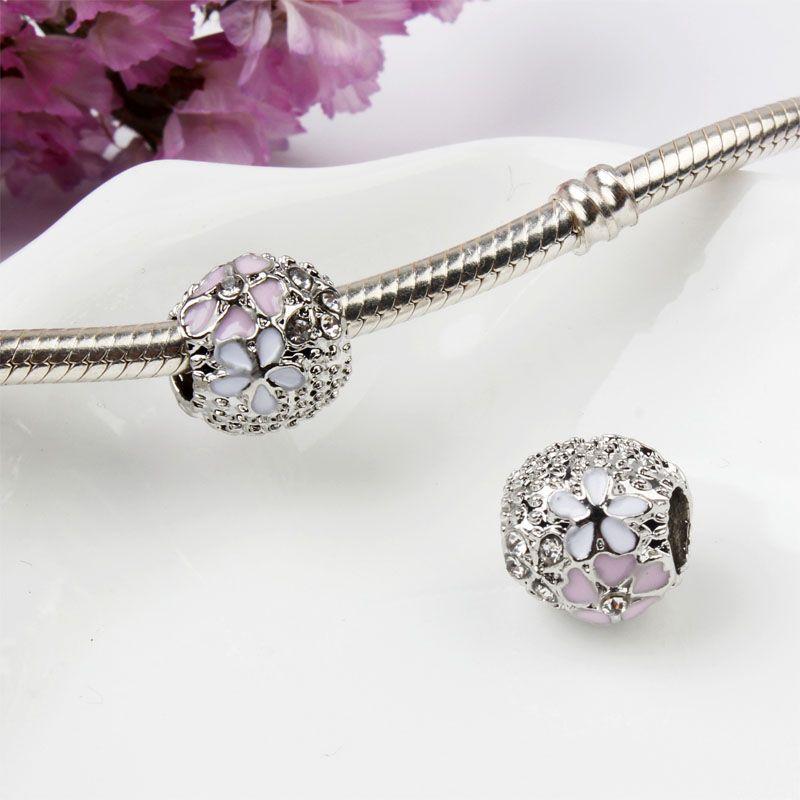 Auténtica plata esterlina S925 flor floreciente Pink Magnolia CZ PAVE anillo tamaño 54