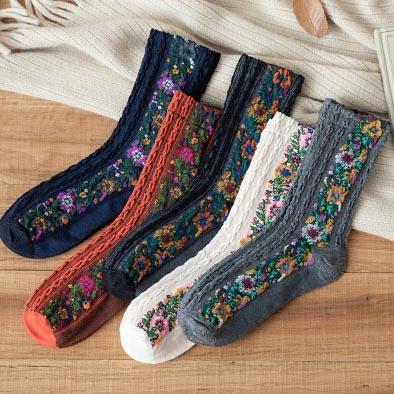 Women Girls Cotton Socks Ethnic Style Fashion Socks Hosiery /& Socks.UK