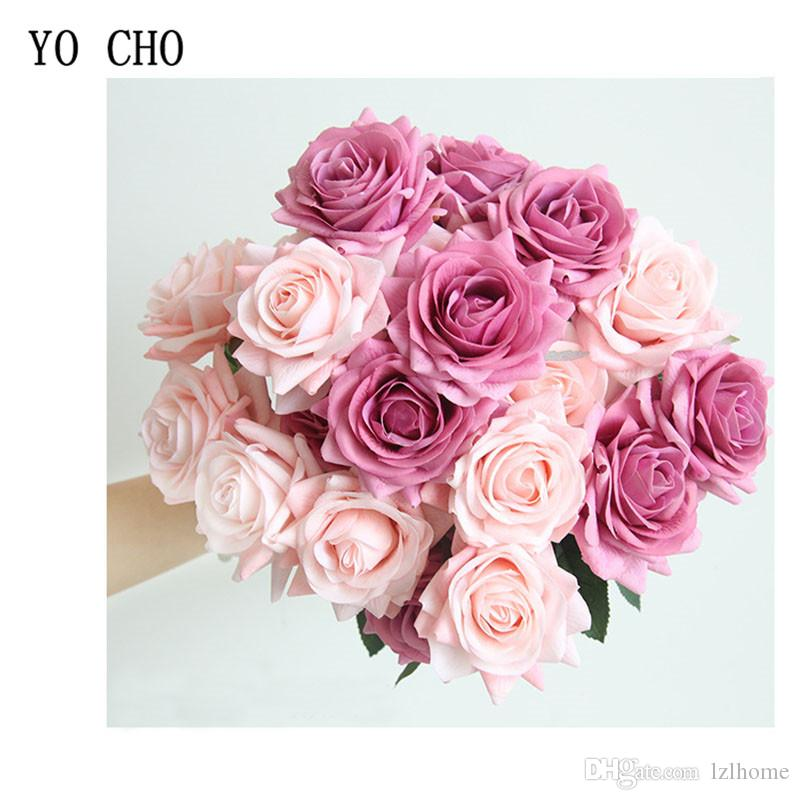 YO CHO Bride Wedding Bouquet Bridesmaid Artificial Silk Rose Flowers Pink White DIY Home Party Wedding Decorations Table Center Accessories