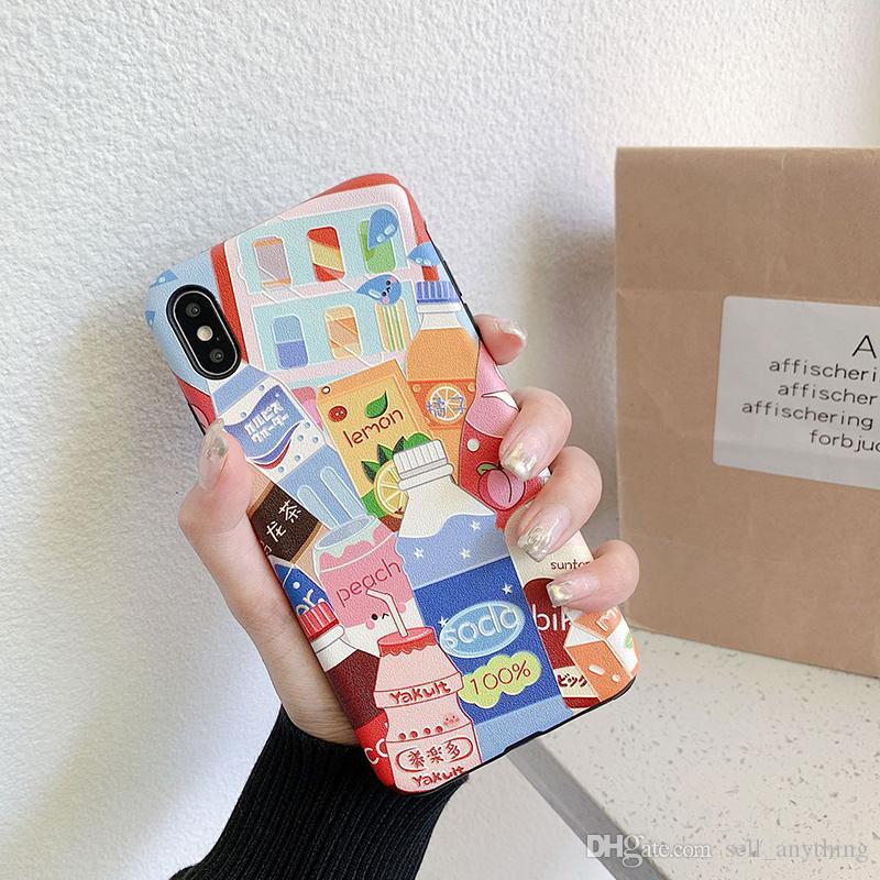 Para Iphone Xs Max Xr Funda para teléfono Ilustración creativa Colección de bebidas 6 7 8 X Plus Fundas para teléfono suave IMD en relieve de seda