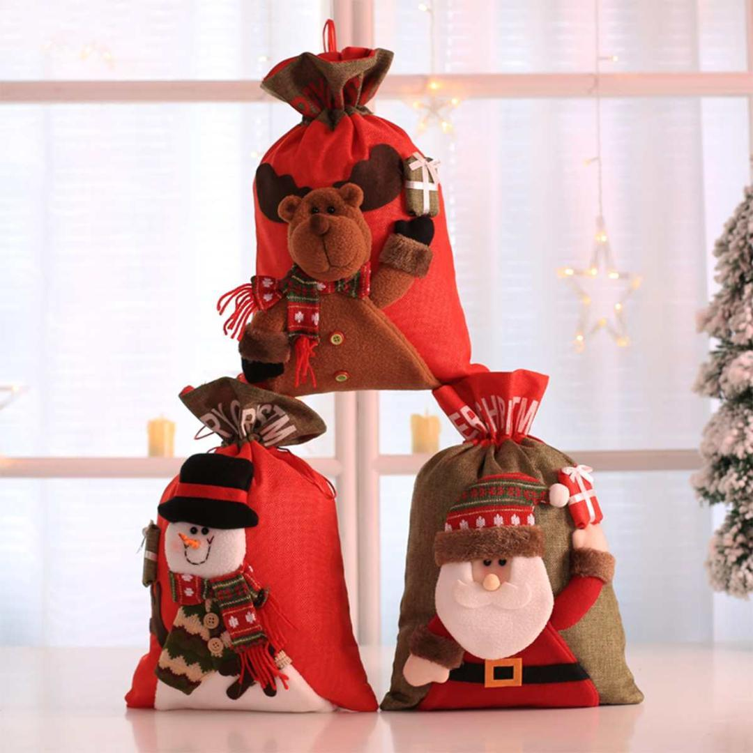 Carino Sacchetti regalo di Natale Candy Buon Natale tasche titolari Bag Babbo Natale i regali pupazzo di neve Bambini Banchetto di Natale