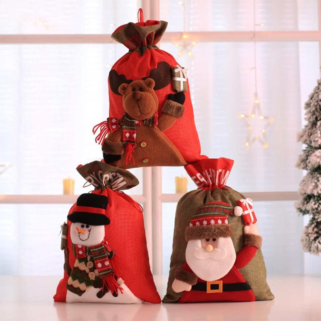 Regalo de Navidad lindo Bolsas Pockets caramelo Feliz Navidad titulares bolsa de regalos de Santa Claus muñeco de nieve niños banquete de Navidad