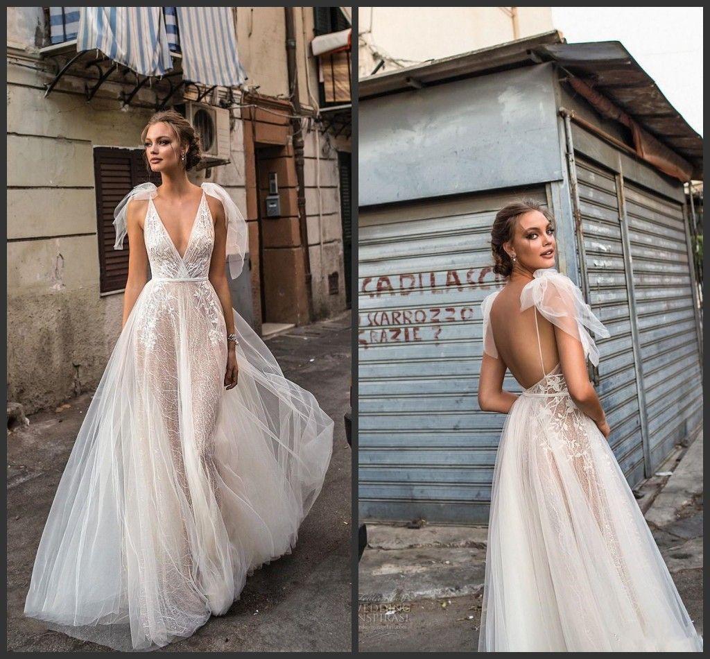 2020 New Elegante Lace Vestidos de casamento Backless V decote ilusão corpete até o chão Sexy Open Back vestidos de noiva