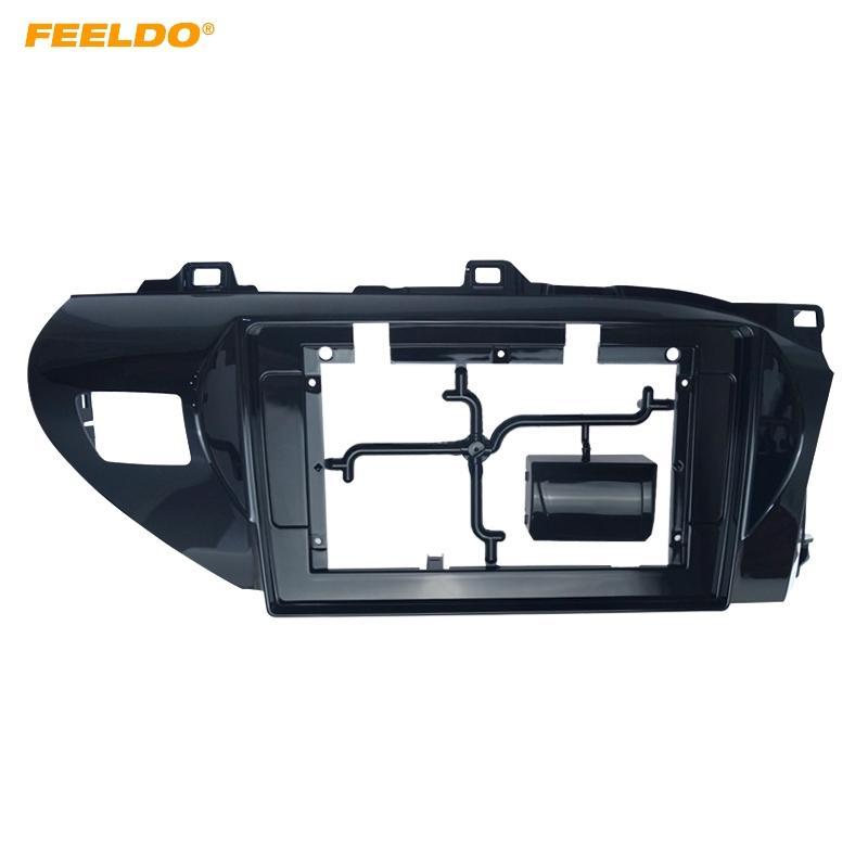 "FEELDO 2Din Car Radio 10.1"" Fascia Frame for Toyota Hilux 2018 CD/DVD player Stereo Audio Panel Dash Trim Bezel Kit #6240"