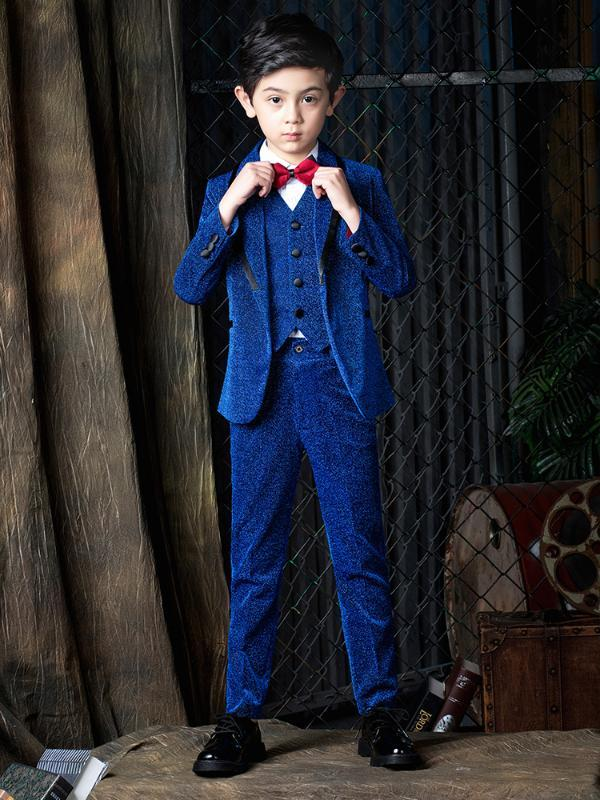 YuanLu 2020 Boys Suits Blazer Coat Formal Costume Wedding Party Piano Toddler Clothes Shiny Blue 2T -14
