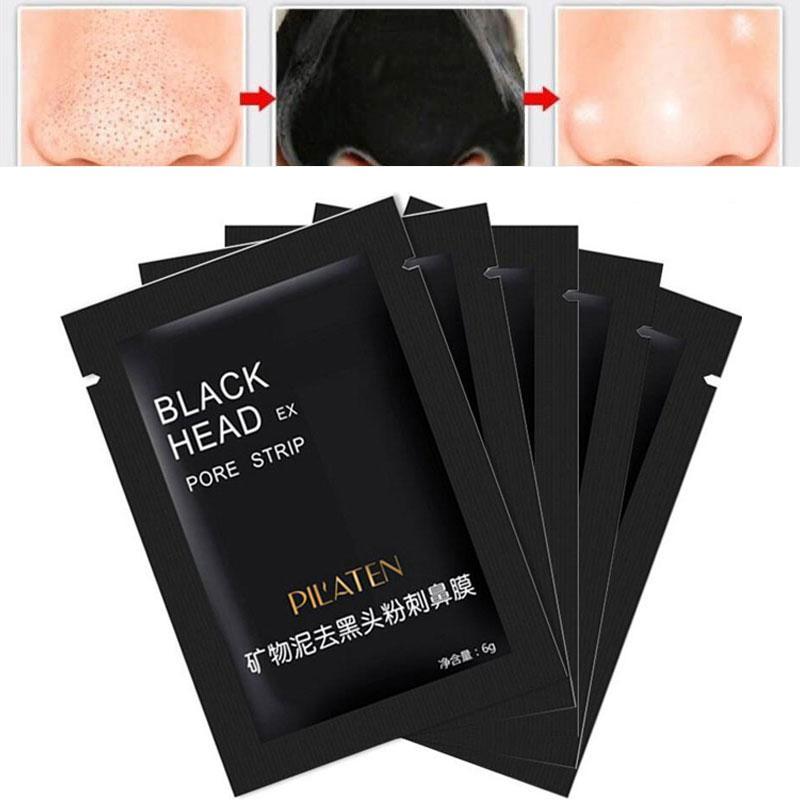 Pilaten facciale Black Mask Viso naso Acne rimozione di comedone Minerali Pore Cleanser Maschera Striscia Black Head maquiagem