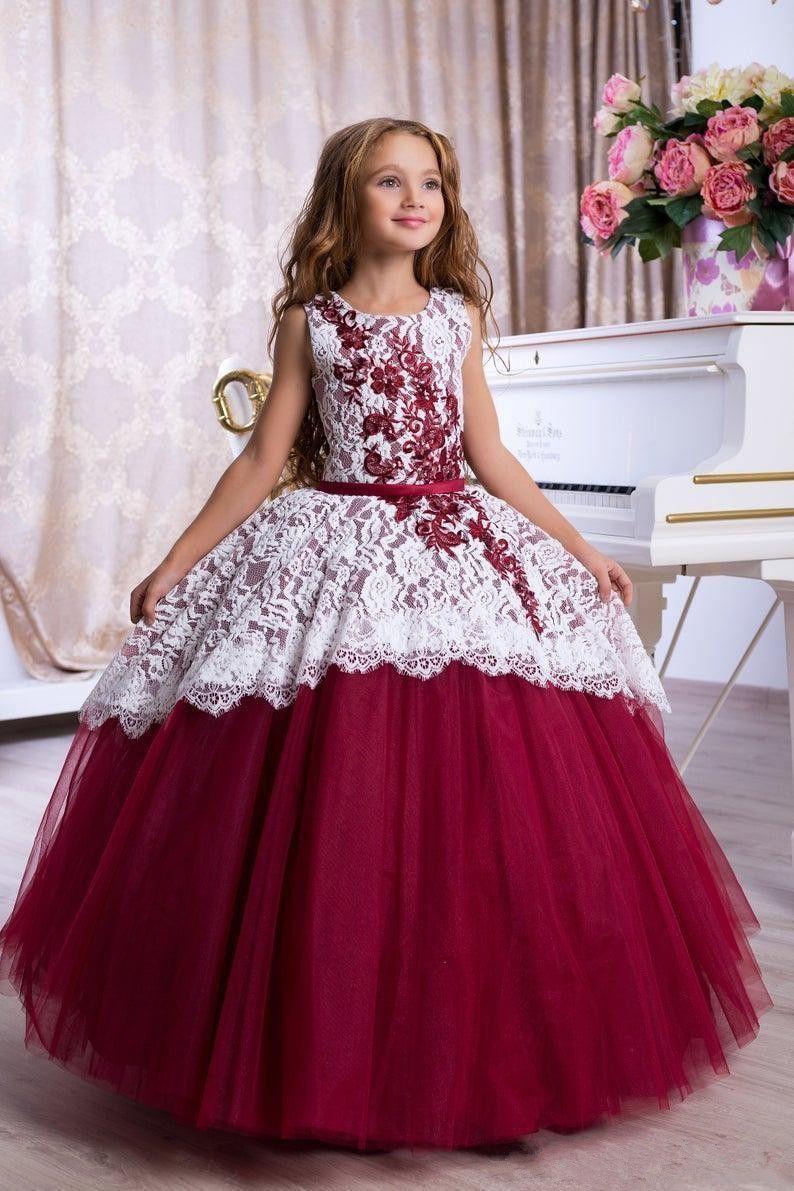Dantel Çiçek Kız Elbise Balo Kemer Kat Uzunluk Kızlar ilk komünyonu Elbise Prenses Elbise