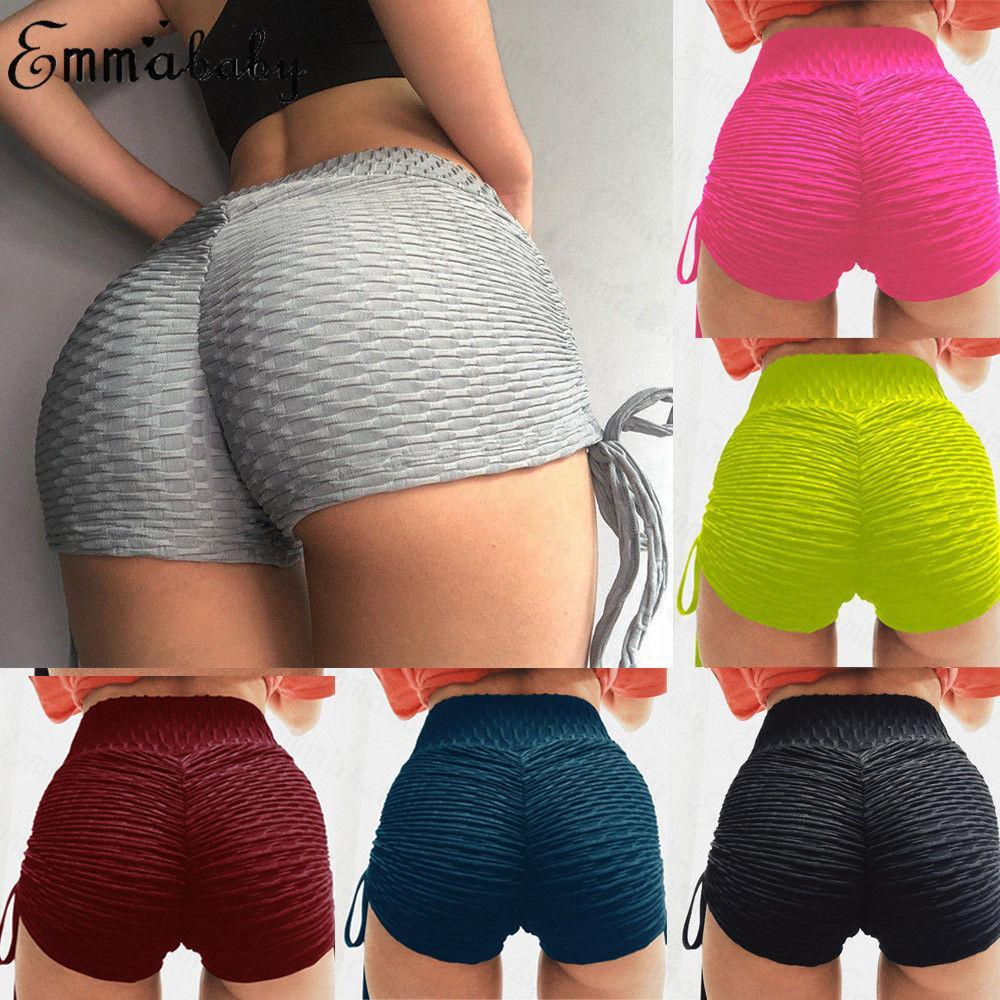 2019 neue Frauen-Sommer-Strand-High Waist Scrunch Bottom PUSH UP Strand Shorts Hot Yoga Shorts 7 Farben