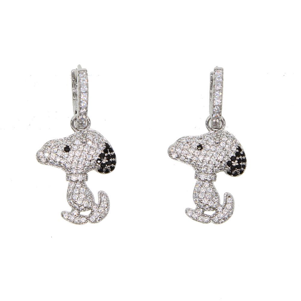 elegant cz Animal French Bulldog Earrings for Women Cute Puppy Dog Stud Earrings cute earring girls kids femme 2018 new