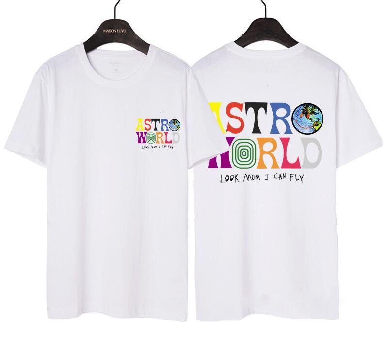 Мужская дизайнерская мужская рубашка для T-пара Astroworld Scott Hip Men Front Parted Hop и женская летняя одежда Travis Back Tees Бесплатная доставка NWBV