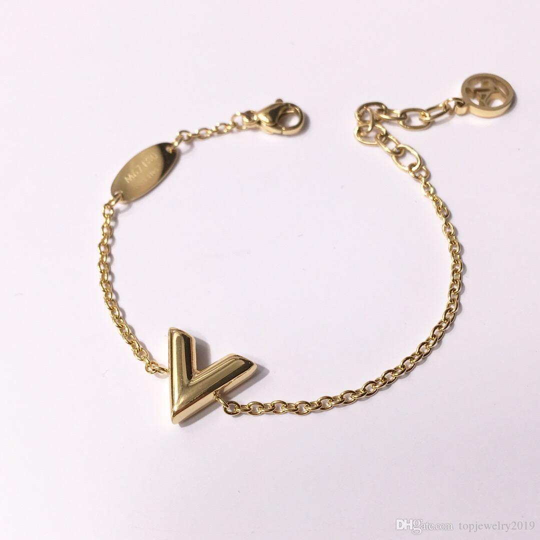 роскошные дизайнерские ювелирные изделия женщины браслет письмо V Шарм браслеты высокое качество серебро розовое золото цепи элегантный браслет с алфавитом