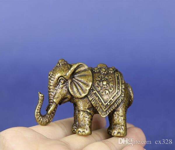 Chinese brass Carved elephant Small statue