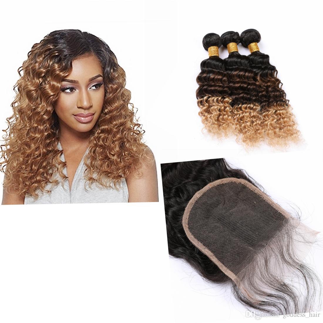 """3Tones color mechones de cabello humano con el encierro 4 """"* 4"""" Dark Raíz rusos 3Pieces Ombre extensiones del pelo humano de la onda profunda"""