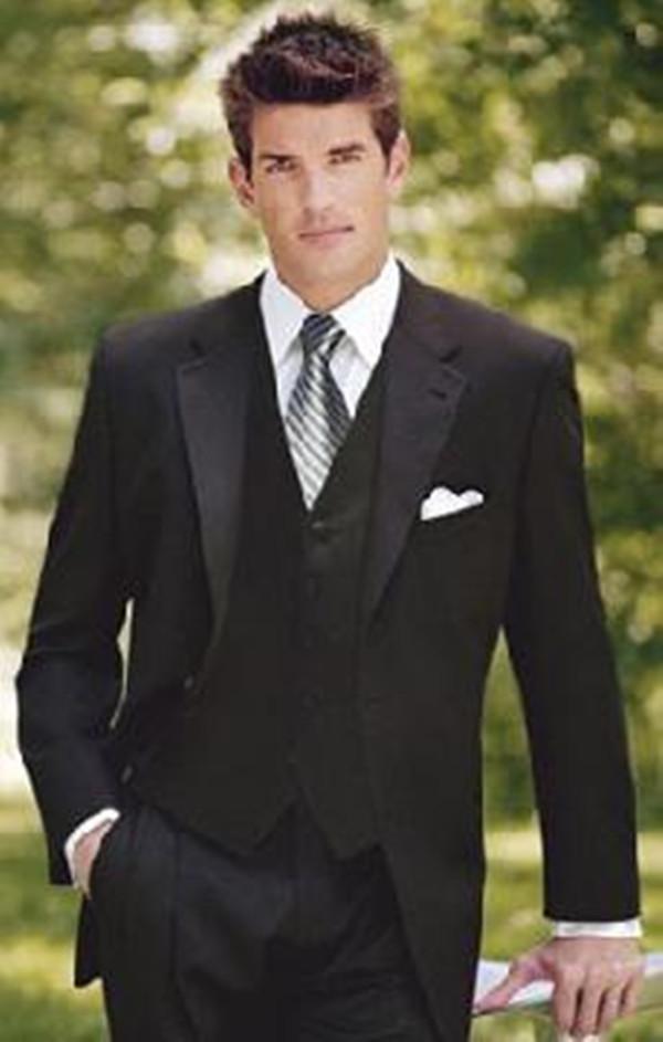 Düğün Smokin Damat Giymek için 3 Parça Takım Elbise Erkekler Damat Suit Resmi Elbise Terzi Moda