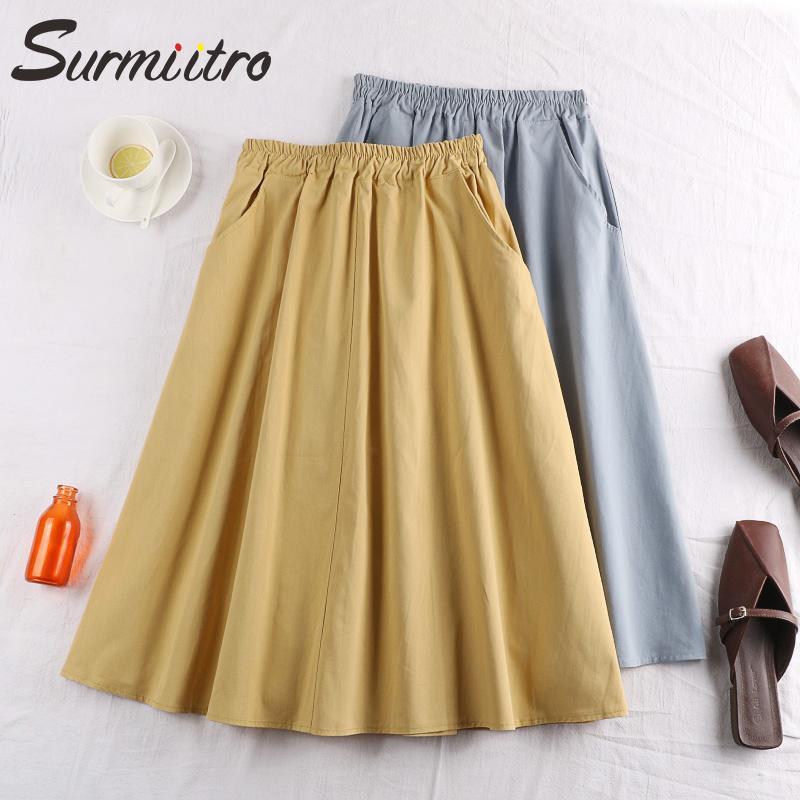 Surmiitro 100% Cotton Midi-Sommer-Rock-Frauen 2020 Art und Weise koreanische Taschen A-Linie Sun Schule Schwarz Weiß Rock mit hohen Hüfte Weiblicher CX200701