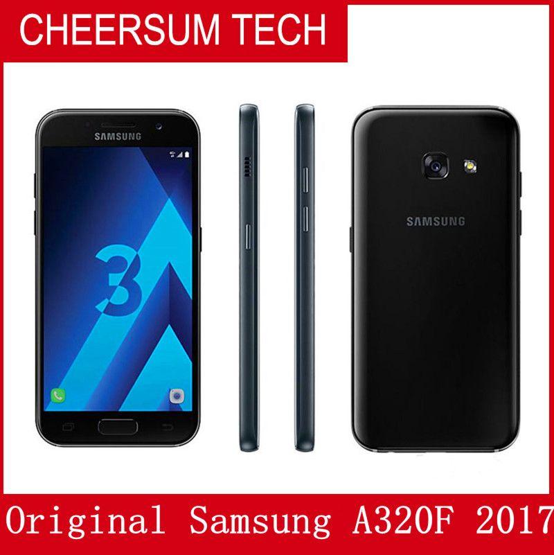 Оригинальный восстановленный Samsung Galaxy A3 2017 A320F Single SIM 4.7 inch Octa Core 2GB RAM 16GB ROM 13MP Android Smart Phone free post