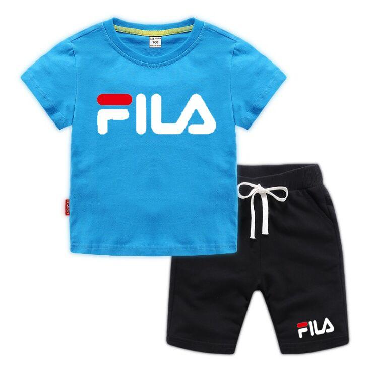 2-8 Anos Moda Bebés Meninos Kids Clothes Set Verão Cotton letra T-shirt de manga curta Impresso + terno de calças do menino da criança Kid Clothing