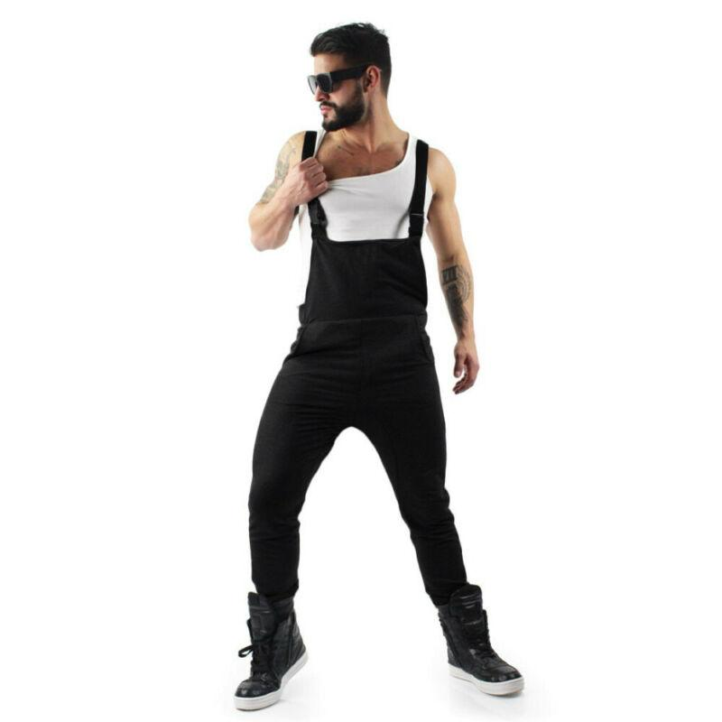 New 2019 Men Cool Style Hip-hop Pockets Loose Casual Overalls Male Bib Long Style Cargo Pants Plus Size