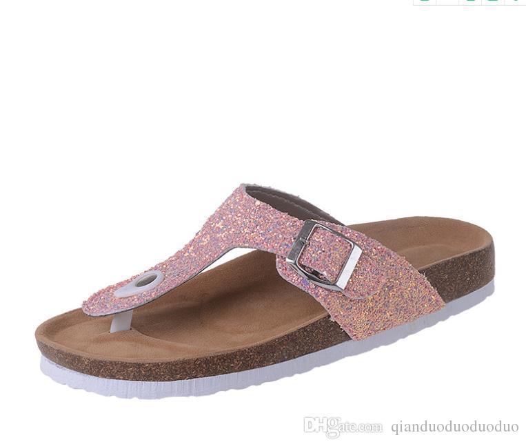 2019 New Korean Comfortable Metal Decoration Women Sandals Clip Toe Flat Shoes Sandals Shoes 35-44