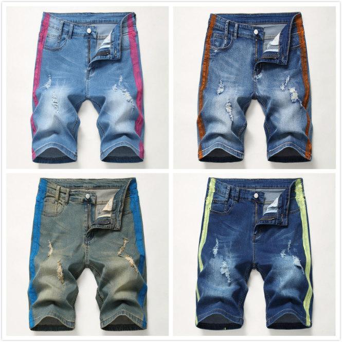 Mens Designer Jeans Mode 4 Couleurs Stretch Élastique Déchiré Shorts Jeans 2020 D'Été Nouvelle Arrivée Casual Pantalon Court Taille 28-42