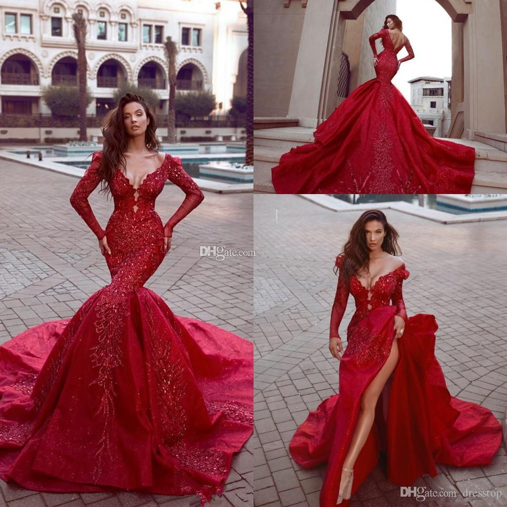 Sparkly luxury Evening Dresses Indian Mermaid Reception Gothic Prom Dress Long Sleeve Cheap Beaded Muslim Plus Size Party Gowns 2019