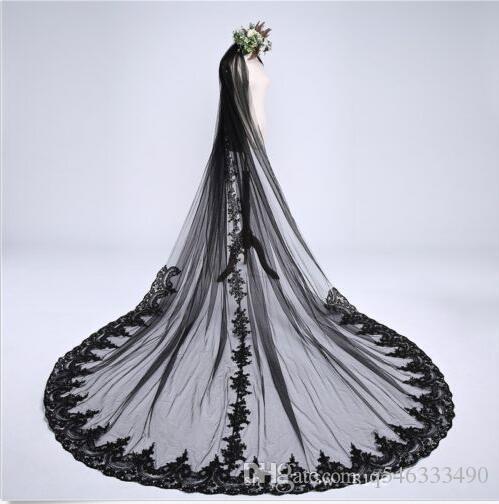 3M Catedral negra de boda velos apliques de encaje largo velo nupcial con peine
