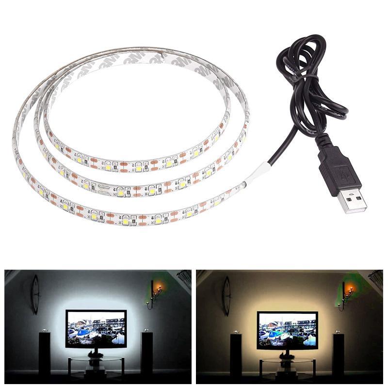 5 V 50 CM 1 M 2 M 3 M 4 M 5 M USB Kablosu Güç LED şerit işık lambası SMD 3528 Noel masa Dekor lamba bant TV Arka Plan Aydınlatma Için su geçirmez
