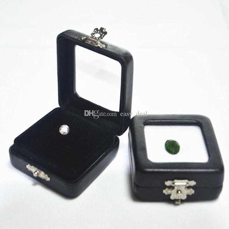 Siyah PU Deri Elmas Kutusu Yüksek Dereceli Gem Takı Ekran Kutuları Gem Taş Organizatör Tutucu Hediye Kutusu ZC0236