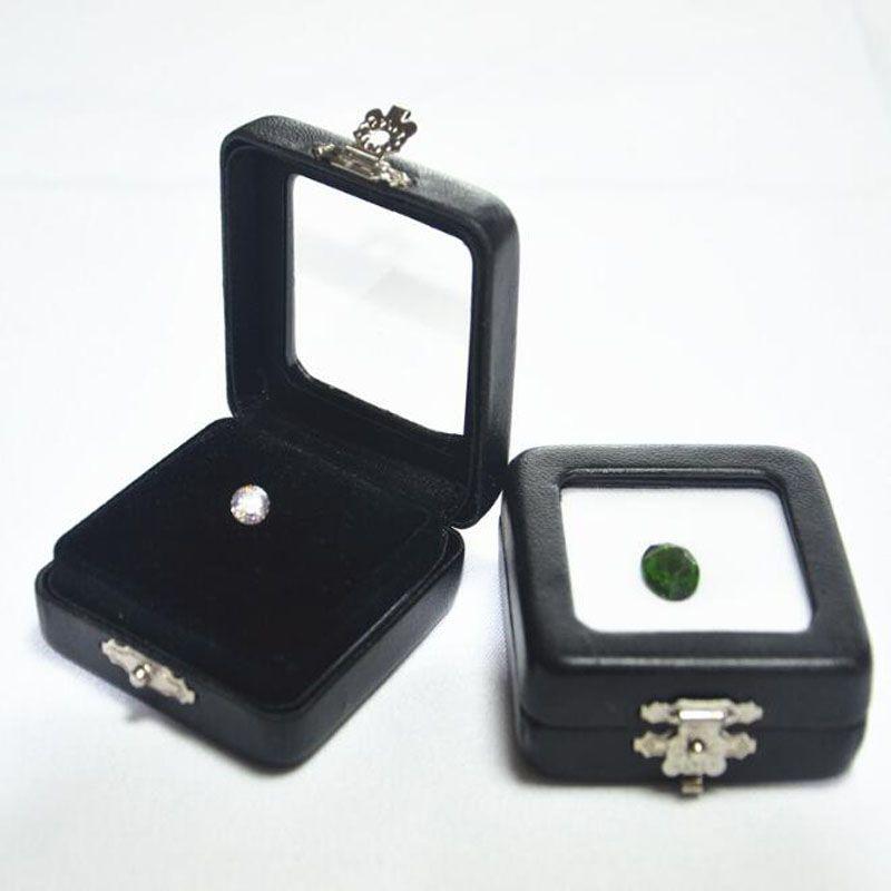 Schwarz PU Leder Diamant Box High Grade Edelstein Schmuck Display Boxen Edelstein Organizer Halter Geschenkbox ZC0236