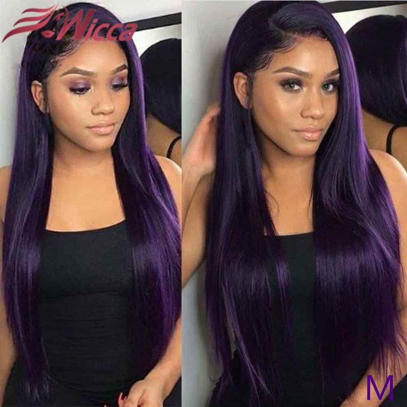 13*6 Deep Part Lace Front Human Hair Wig Straight purple Color Hair Pre Plucked Line Bleached Knots Brazilian Remy
