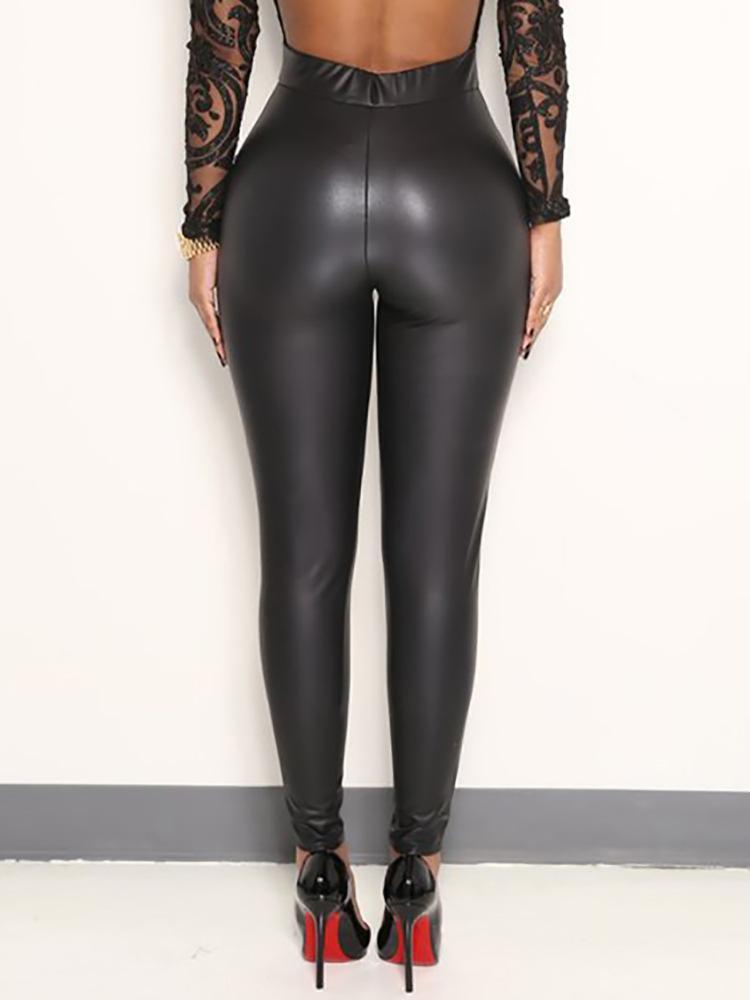 Fashion-Women Black Sexy Leggings Leather Slim Fit Leggings High Elasticity Club Style Pants Leather Boots Leggings