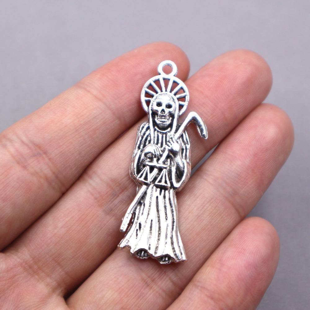 6pcs al por mayor de plata de la antigüedad del colgante del cráneo del tono fantasma de joyería de moda