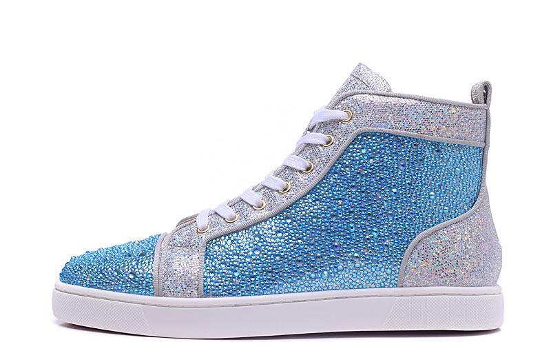 Designer di lusso del Mens Red Bottoms pattini fissati Spikes appartamenti con diamante High Top Sneakers glitter Vera Pelle Des Chaussures Zapatos