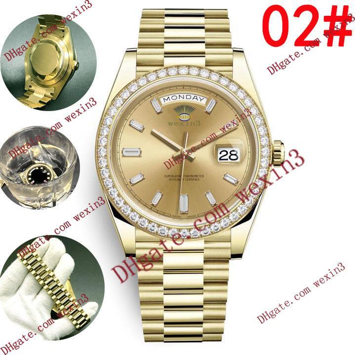 7 색 대통령 데이 데이트 18K 골드 영구 명품 남성 시계 41mm 다이아몬드 베젤 골드 스테인레스 스틸 원래 스트랩 자동 남성 시계