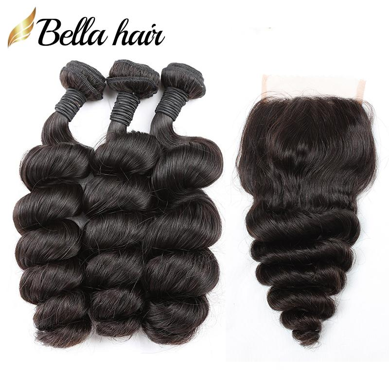 Loose Wave Hair Bundles with Closure 4x4 Malaysian Peruvian Indian Brazilian Virgin Hair Weft Extension Top Lace Closure Free Part Bellahair