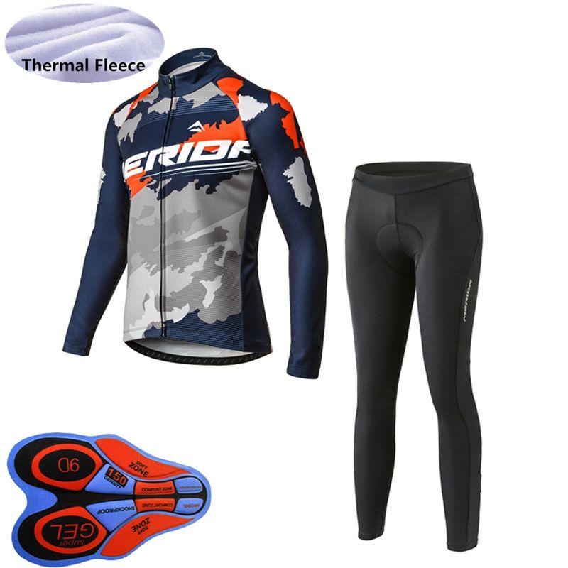 Thermal Fleece Mens Team cycling long sleeve jersey Bib pants set Cycling Jersey