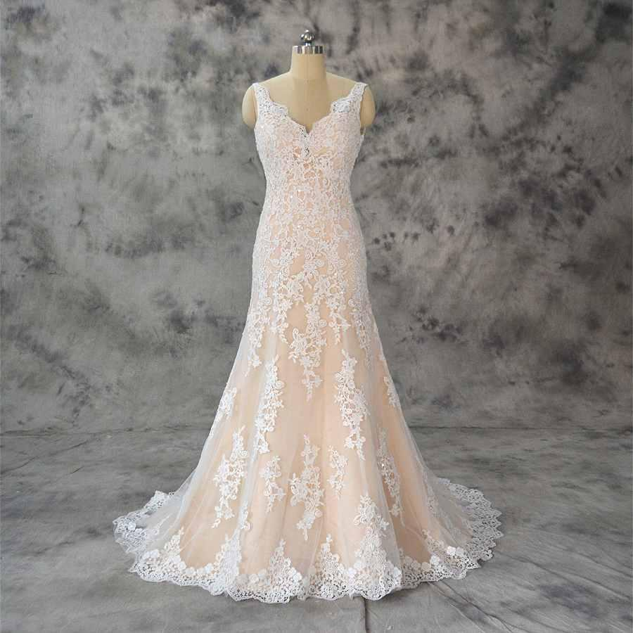 2020 Real Photo Ivory Lac Champagne Wedding Dresses V neck Sheer Straps Backless Applique South African Wedding Dress Bridal Gowns Cheap