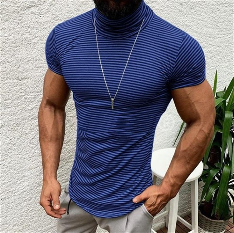 Erkek Yaz Çizgili Tasarımcı Casual Yüksek Yaka Kısa Kollu Erkek Tess'in 20ss Yeni Adam Tops tişörtleri